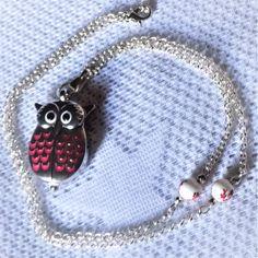 Sautoir collier montre chouette argent et rose perles porcelaine perles métal.