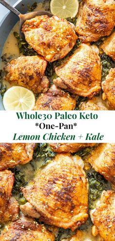 This One Pan Lemon Chicken with Kale is an easy, healthy and delicious meal you'll want on repeat in your house! Juicy chicken thighs are seasoned, seared, and cooked in a creamy lemon sauce with kale for an extra punch of greens and flavor. It's Paleo, Paleo Lemon Chicken, Paleo Chicken Thighs, Lemon Chicken Thighs, Baked Chicken, Paleo Boneless Skinless Chicken Thighs, Healthy Chicken, Cracker Chicken, Chicken Breasts, Fodmap Recipes