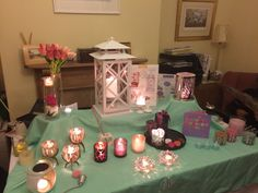 Another spring table display from the candle angel x Partylite, I Party, Display Ideas, Candles, Table Decorations, Spring, Home Decor, Candle Decorations, Flowers