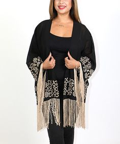 This Black & Beige Embroidered Fringe Open Cardigan - Plus is perfect! #zulilyfinds