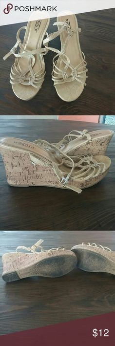 Cute Seychelles wedges! Nude colored wedges for summer! In good condition...there is a small white mark on the cork of the sandal and signs of wear on the elastic straps that go around the ankle. Otherwise, in good condition! The nude portion is a snake skin like material. Seychelles Shoes Wedges