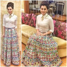 """No doubt Bridal lehenga which is a dream outfit of every girl . But after few years of marriage a question popup """"How to reuse bridal lehenga""""? Indian Gowns Dresses, Indian Fashion Dresses, Indian Designer Outfits, Indian Outfits, Skirt Fashion, Stylish Dress Designs, Stylish Dresses, Choli Dress, Long Skirt Outfits"""