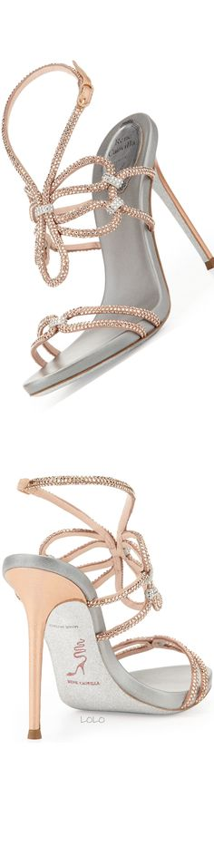 Rene Caovilla ~ Silver Sequin Leather Summer Sandals