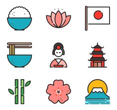 Free vector icons of japanese Kawaii Doodles, Cute Doodles, Icon Design, Web Design, Flat Design Icons, Japan Icon, Doodle Characters, Japan Painting, City Icon
