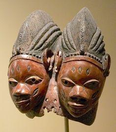 (My work, Panasonic FZ20 JPEG)   Double faced mask ori-inu, Gelede Society (early 20th) Yoruba, Nigeria [wood & indigo]  African art, St. Louis Art Museum.  (My work, FZ20, JPEG)