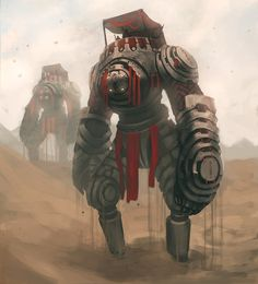 Mechanized walking servants from a fantasy world, steampunk / fantasy setting inspiration Sand Mechs ~ Made by Ishutani Character Concept, Character Art, Concept Art, Character Design, Fantasy Monster, Monster Art, Dnd Characters, Fantasy Characters, Fantasy Inspiration