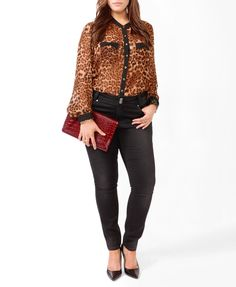 Leopard Bow Pocket Blouse... finally a model who is my size!!