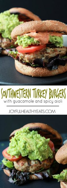Healthy juicy Southwestern Turkey Burgers stuffed with lettuce, tomato, a simple guacamole, and a Spicy Aioli made with Piquillo Peppers and Chipotle Peppers! The ultimate Turkey Burger recipe your family will love - just 20 minutes!   joyfulhealthyeats.com #recipes #grill