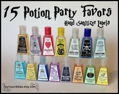 I love these...15 Wizard Potion Party Favor Labels. $5.00, via Etsy. Awesome for Halloween weddings maybe ?