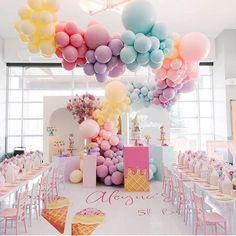 Pastel Balloons, Rainbow Balloons, Confetti Balloons, Ice Cream Balloons, White Balloons, Rainbow Party Decorations, Balloon Decorations, Birthday Party Decorations, Balloon Arch