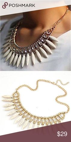 Spike overlap necklace Brand-new without tags's beautiful layered over a beautiful sexy top has style and design cold with an off-white trim. 16.53+2.36inch Jewelry Necklaces