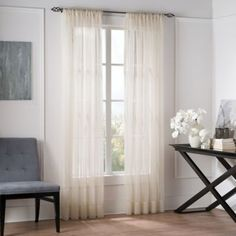 Buy Valeron Natural Sheer 84-Inch Window Curtain Panel in Linen from Bed Bath & Beyond