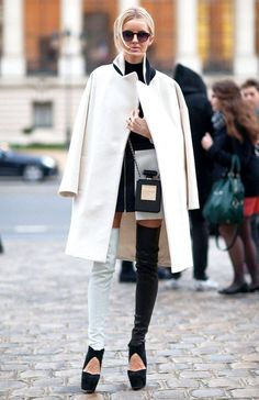 4. Statement Cut Out Boots With Coat 2017 Street Style