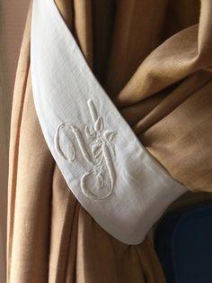 hand embroidered monogram linen curtain tieback