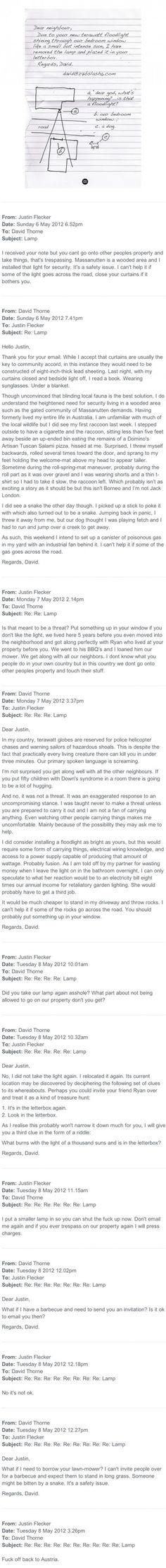 Funniest email between a man and his neighbor.- Long but worth the read!!! I like this David guy!