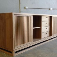 Friday afternoon spent dreaming about this beautiful credenza. Blackbutt timber, sliding slatted doors and interior storage. Plumbing Pipe Furniture, Tv Furniture, Woodworking Furniture, Plywood Furniture, Unique Furniture, Furniture Projects, Custom Furniture, Furniture Making, Furniture Design
