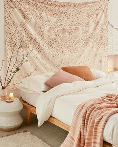 Find décor and accessories to fit your dorm room style. Urban Outfitters has wall art, tapestries, string lights, and more to complete your apartment decor. Dream Rooms, Dream Bedroom, Home Bedroom, Bedroom Decor, Teen Bedroom, Small Bedrooms, Tapestry Headboard, Tapestry Bedroom, Home Interior