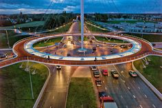 The Hovenring suspended bicycle path is a roundabout that is located in the Netherlands. It is the first suspended bicycle roundabout in the world. It was designed as a solution to problems that were being caused by increased traffic. After some consideration it was decided that separating bicycle traffic was the best course of action.