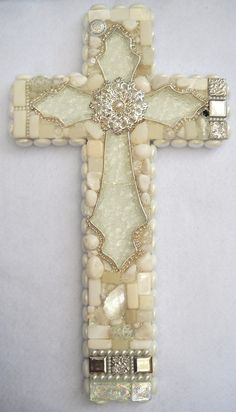 Wall cross with sparkling glass centerpiece by ShannonDDesigns, $200.00