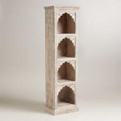 Ivory Hand-Carved Wood Bookshelf | World Market