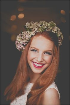 Floral Hair Garland by www.leafycouture.co.uk shot by http://jamesmeliaphoto.com.. please get auburn hair @Holly Adams