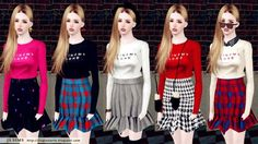 Long sleeve top with ruffled short skirt by JS Sims 3 - Sims 3 Downloads CC Caboodle