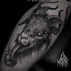Search inspiration for a Blackwork tattoo. Badass Tattoos, Body Art Tattoos, Tattoo Drawings, Sleeve Tattoos, Cool Tattoos, Occult Tattoo, Demon Tattoo, Dark Tattoo, Samurai Tattoo
