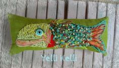 Funky Fish Hand Embroidery Pillow by YelliKelli.   Burlap pillow stitched in Wool yarn.   Measures 6 x 15.   Original freehand design.   Ready to Ship!   Yelli Kelli   HEY! Thats Cute!