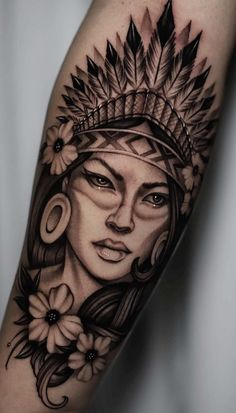 75 Fotos de tatuagens femininas no braço - Fotos e Tatuagens Indian Head Tattoo, Indian Women Tattoo, Indian Girl Tattoos, American Indian Tattoos, Mommy Tattoos, Head Tattoos, Future Tattoos, Life Tattoos, Body Art Tattoos