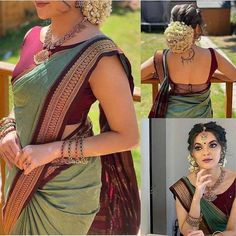 New Saree Blouse Designs, Dress Designs, South Indian Wedding Saree, Indian Fashion Dresses, India Fashion, Indian Outfits, Saree Hairstyles, Wedding Saree Blouse, Stylish Sarees