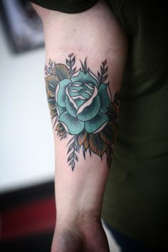 blue rose by alice carrier #arm #forearm #tattoos