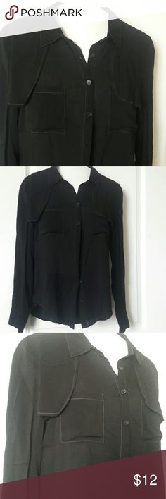 Blouse Button down blouse, w/pockets, gray stitching, New without tags love tree  Tops Blouses