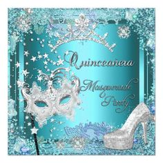 """Masquerade Mask Pretty Soft Teal Blue Aqua Turquoise Silver Tiara Shoe Tiara Masquerade ball quinceanera 15th Birthday Party Invitation All Occasions Party 15th <div style=""""text-align:centre;line-height:150%""""><a href=""""http://www.zazzle.com/rsvp_reply_masquerade_quinceanera_blue_tiara_shoe_invitation-161056461185008003?gl=Zizzago&rf=238906793226523825""""><img src=""""http://rlv.zcache.com/rsvp_reply_masquerade_quinceanera_blue_tiara_shoe_invitation-p161056461185008003enqsg_325.jpg"""" alt=""""RSVP Reply…"""