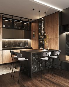 Аpartment with 5-meter height ceilings. │ Part 2. Luxury Kitchen Design, Modern Kitchen Interiors, Kitchen Room Design, Home Room Design, Luxury Kitchens, Home Decor Kitchen, Interior Design Living Room, Kitchen Ideas, Apartment Interior