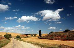 Summer clouds and blue skies over Castilla-La Mancha.