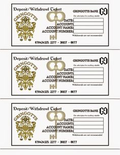 """A Crafty Chick: Diagon Alley - Gringotts Wizarding Bank (Using this to dish out """"travel allowance"""" to the little guy for our trip to the Wizarding World of Harry Potter!) Each day we are in the park he gets a new slip envelope and cash. Teaching Budgeting on vacation!"""