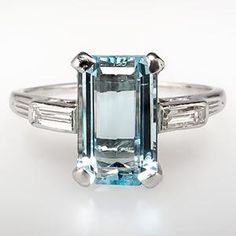 Vintage Natural Aquamarine & Diamond Engagement Ring Solid Platinum