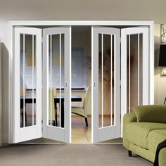 Freefold White Worcester Style Folding 4 Door Set with Clear Glass, Height Width - Lifestyle Image Partition Door, Room Divider Doors, Room Partition Designs, Internal Folding Doors, Door Design, House Design, Glass French Doors, Windows And Doors, Front Doors