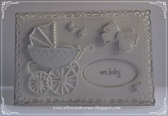 Elly's Card- Corner: Lovely monochromatic baby card. Love the pram!