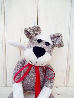 The Original Sock Puppy Dog, Sock Monkey Doll, Handmade Children's Dolls Sock Dolls, Doll Toys, Sock Crafts, Fabric Crafts, Sewing Toys, Sewing Crafts, Childrens Dolls, Craft Projects, Sewing Projects