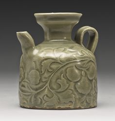 Lot A Rare 'Yaozhou' Celadon Carved Ewer, Northern Song Dynasty Height 4 in. Ceramic Pitcher, Ceramic Clay, Porcelain Ceramics, Ceramic Pottery, White Ceramics, Oriental, Pottery Designs, Pottery Ideas, Chinese Ceramics