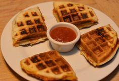 Pizza pocket waffles, yum!  Can be made #vegan.