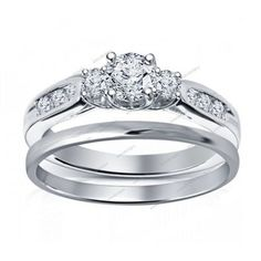 1.62 Carat Round Cut Diamond 14K White Gold Finish Three Stone Bridal Ring Set #aonedesigns