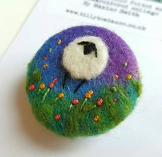 Needle felted and Hand embroidered sheep brooch  by tillyteadance