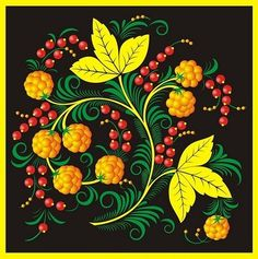 Folk Khokhloma painting from Russia. Pattern with berries and leaves. #art #folk…