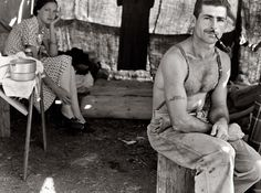 """Dorothea Lange (via Shorpy Historical Photo Archive :: and Wife) Oregon, August """"Unemployed lumber worker goes with his wife to the bean harvest. Note Social Security number tattooed on his arm. Colorized Historical Photos, Colorized History, Historical Pics, Photos Du, Old Photos, Famous Photos, Antique Photos, Amazing Photos, Number Tattoos"""