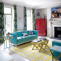 Neutral modern living room with colourful furniture