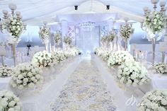 All white wedding inspiration we absolutely love! Lavender Wedding Theme, All White Wedding, My Perfect Wedding, Floral Wedding, Our Wedding, Wedding Flowers, Dream Wedding, Wedding Dresses, Church Wedding Ceremony