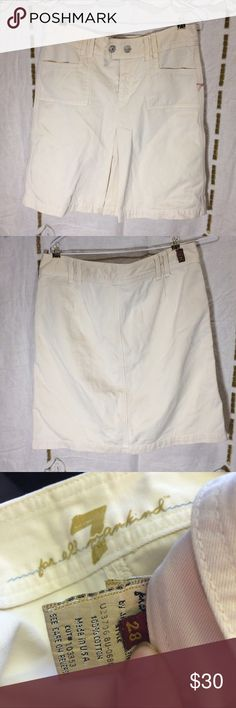 """7 for all mankind khaki skirt Woman's size 28 (converts to about a four. See measurements) 7 for all mankind cream colored khaki shirt. Light wear. No holes or stains. The waist measures 16"""" flat across and this is 19 1/2"""" long. 7 For All Mankind Skirts Midi"""