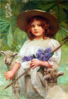 young girl with lambs